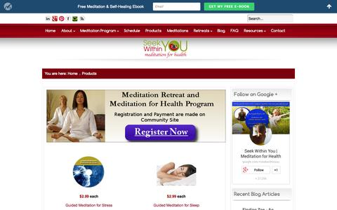 Screenshot of Products Page seekwithinyou.com - Meditation for Health Improvement eBooks | Guided Meditations - captured Oct. 27, 2014