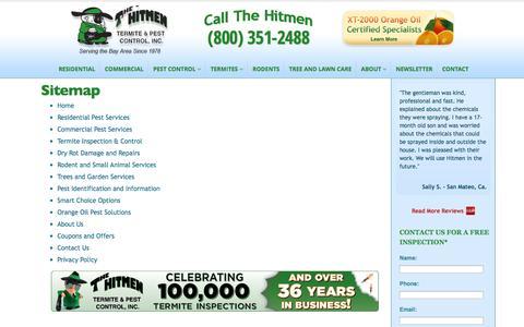 Screenshot of Site Map Page hitmenpest.com - Residential Pest Control Experts | The Hitmen Termite & Pest Control - captured Sept. 23, 2014