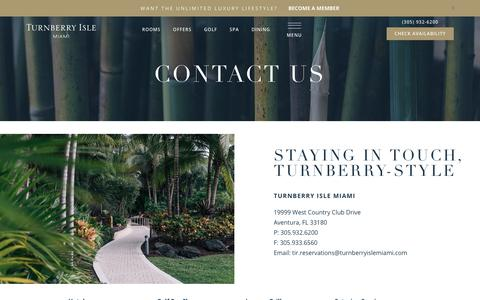 Screenshot of Contact Page turnberryislemiami.com - Turnberry Isle Miami | Contact Us | Turnberry Golf Course - captured Feb. 11, 2018