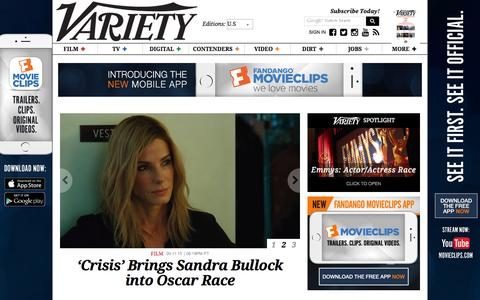 Screenshot of Home Page variety.com - Variety - captured Sept. 12, 2015