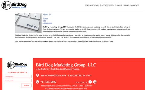 Screenshot of About Page birddogmarketinggroup.com - About Us   Bird Dog Marketing Group, LLC - captured Nov. 22, 2016