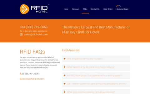Screenshot of FAQ Page rfidhotel.com - Frequently Asked RFID Key Card Questions - captured Oct. 9, 2014