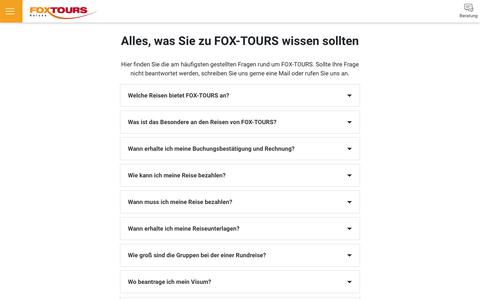 Screenshot of FAQ Page foxtours.de - FOX-TOURS - captured Oct. 10, 2018