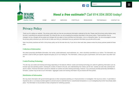 Screenshot of Privacy Page dynamicpainting.net - Dynamic Painting Privacy Policy - captured Oct. 9, 2018