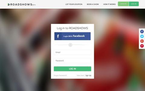 Screenshot of Login Page roadshows.co - Customer Login - captured Oct. 7, 2014