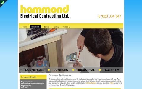 Screenshot of Testimonials Page hammondelectricalcontractorsltd.co.uk - Testimonials | Electrician | Norwich | Hammond Electrical Contractors Ltd - captured Oct. 31, 2014