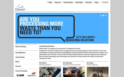 Screenshot of Home Page elexonmining.com - Elexon Mining: Leaders in Global Ore Mining Solutions & Technologies - Ore Grade & Dilution - captured Sept. 29, 2014