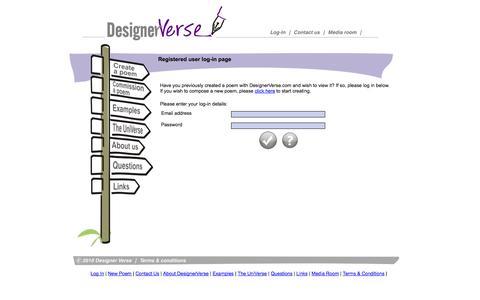 Screenshot of Login Page designerverse.com - Log In - captured Sept. 30, 2014