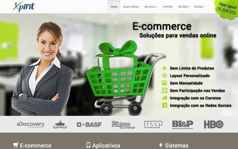 Screenshot of Home Page xpirit.com.br - Desenvolvimento de Aplicativos, Sistemas Personalizados e E-commerce - captured Sept. 30, 2014