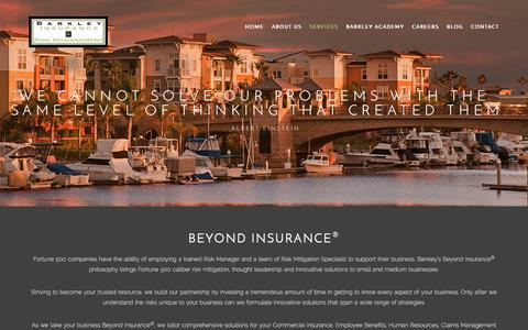 Screenshot of Services Page insuranceandriskmanagement.com - Services | Barkley - captured Oct. 10, 2017