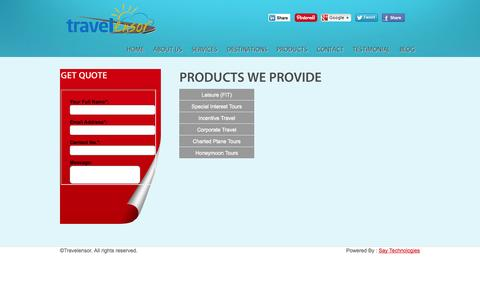 Screenshot of Products Page travelensor.com - Product Page | Travelensor - captured Oct. 7, 2014