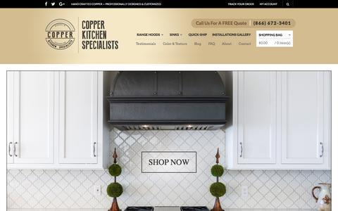 Screenshot of Home Page copperhoods.com - Copper Kitchen Range Hoods - Vent Hoods | Copper Kitchen Specialists - captured Nov. 12, 2016