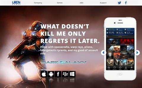 Screenshot of Home Page uken.com - Uken Games - captured Jan. 28, 2015