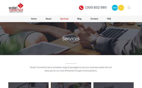 Screenshot of Services Page scolaricomerford.com.au - Advisory & Small Business Services  - Scolari Comerford Accountants Sydney - captured July 28, 2018