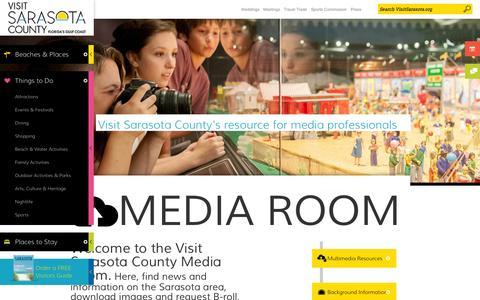 Screenshot of Press Page visitsarasota.org - Media Room   Visit Sarasota County - captured Sept. 25, 2014