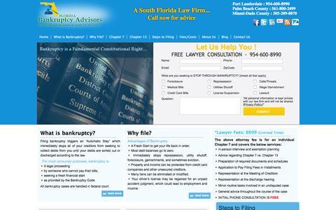 Screenshot of Home Page filebankruptcyflorida.com - Home - Bankruptcy / Debt AttorneysBankruptcy / Debt Attorneys | File Chapter 7, File Chapter 13 and Foreclosure Defense - captured Sept. 11, 2015