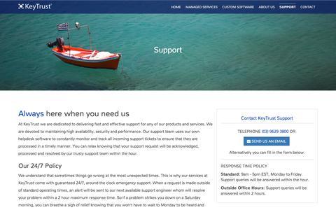 Screenshot of Support Page keytrust.com.au - Support at KeyTrust - captured June 9, 2017