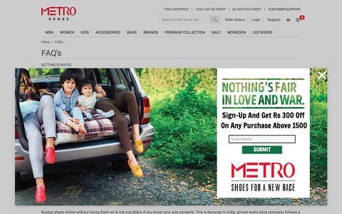 Screenshot of FAQ Page metroshoes.net - FAQ's - captured Sept. 10, 2016