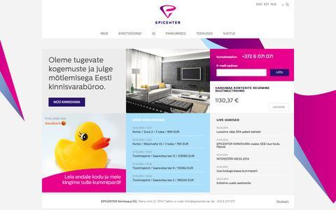 Screenshot of Home Page epicenter.ee - EPICENTER Kinnisvara - captured Oct. 2, 2014