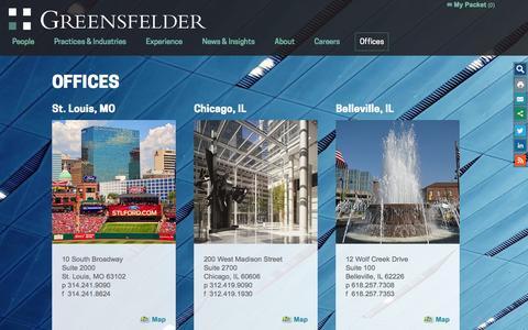 Screenshot of Contact Page greensfelder.com - Offices - captured Feb. 2, 2016