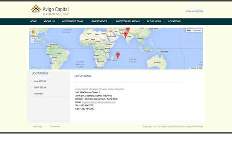 Screenshot of Locations Page avigocapital.com - Welcome To Avigo Capital... - captured Oct. 4, 2014
