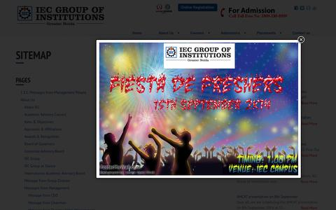 Screenshot of Site Map Page iec.edu.in - SiteMap - IEC Group of Institution - captured Sept. 19, 2014