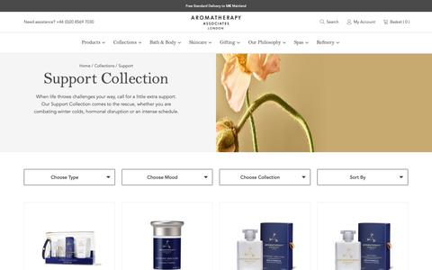 Screenshot of Support Page aromatherapyassociates.com - Support Bath & Body Collection by Aromatherapy Associates - captured June 12, 2019