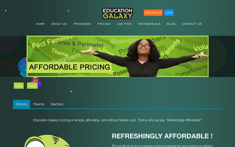 Screenshot of Pricing Page educationgalaxy.com - Learning solutions pricing | Education Galaxy - captured July 16, 2018