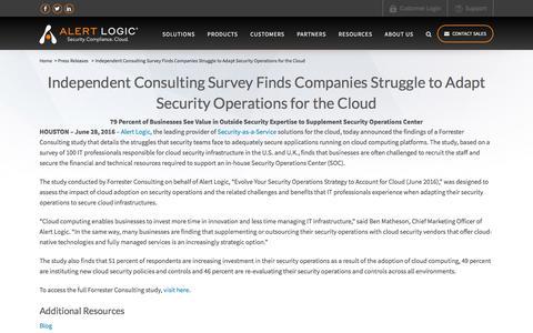 Independent Consulting Survey Finds Companies Struggle to Adapt Security Operations for the Cloud