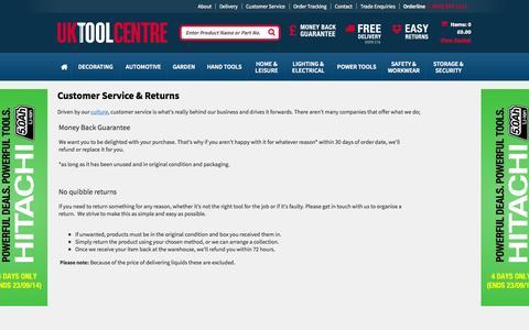 Screenshot of Support Page uktoolcentre.co.uk - Customer Service & Returns - captured Sept. 23, 2014