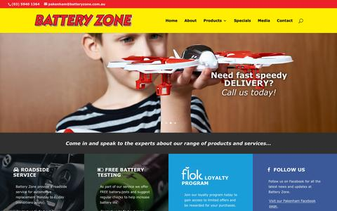 Screenshot of Home Page batteryzone.com.au - Battery Zone Pakenham | Local Battery Experts - captured Oct. 25, 2018