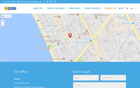 Screenshot of Contact Page chillout-travel-philippines.com - Find Us - ChillOut Travel & Tours Philippines - captured July 29, 2017