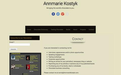 Screenshot of Contact Page annmariekostyk.com - Contact Me - captured Nov. 3, 2014