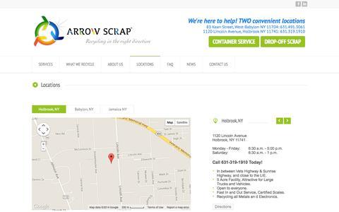Screenshot of Locations Page arrowscrap.com - LOCATIONS - captured Oct. 4, 2014