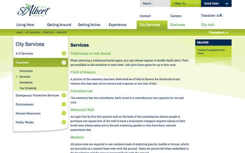 Screenshot of Services Page stalbert.ca - Services - The City of St. Albert - captured Nov. 2, 2014
