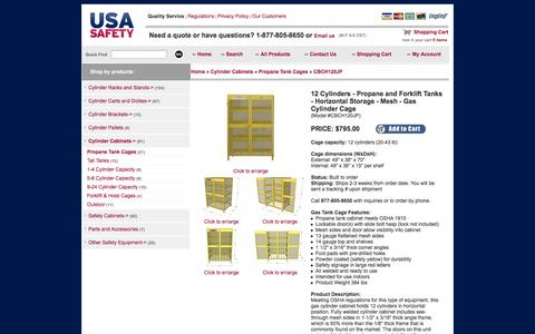 Screenshot of Landing Page usasafety.com - Gas Cylinder Cage, 12 Propane Tanks, Horizontal Storage, CBCH120JP - USASafety.com - captured Oct. 27, 2014