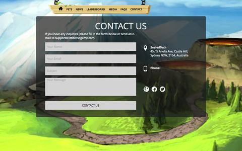 Screenshot of Contact Page littlewispgame.com - Contact - Little Wisp Game - captured Oct. 3, 2014