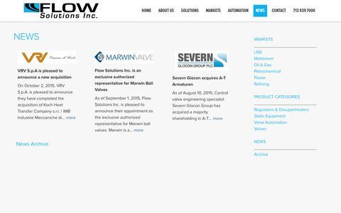 Screenshot of Press Page flowsolutionsinc.com - Flow Solutions Inc. In The News - Flow Solutions, Inc - captured Aug. 18, 2018