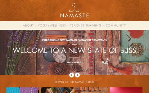 Screenshot of Home Page ilovenamaste.com - Namaste Yoga + Wellness | Oakland & Berkeley - captured Oct. 9, 2014