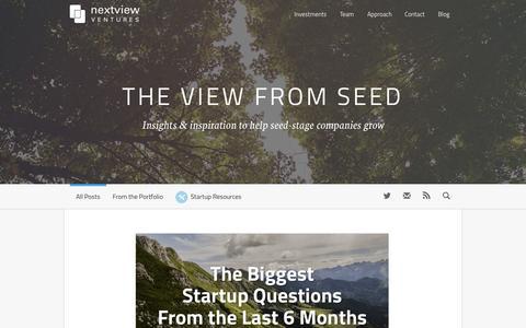 Screenshot of Blog nextviewventures.com - Home - The View From Seed | The View From Seed - captured Feb. 2, 2015