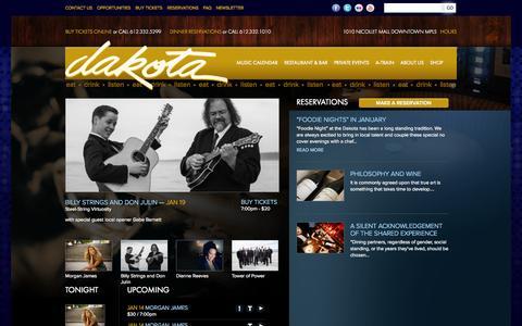 Screenshot of Home Page dakotacooks.com - Home   Dakota Jazz Club - captured Jan. 15, 2015