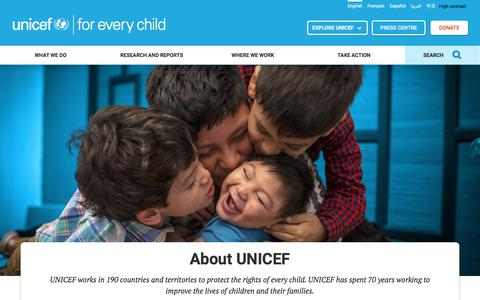 Screenshot of About Page unicef.org - About UNICEF | UNICEF - captured Feb. 22, 2018