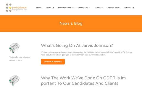 Screenshot of Blog jarvisjohnson.co.uk - News & Blog - jarvis Johnson - captured Oct. 13, 2018
