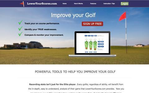 Screenshot of Home Page loweryourscores.com - LowerYourScores.com | Golf statistics | Improve Your Golf - captured Sept. 16, 2017