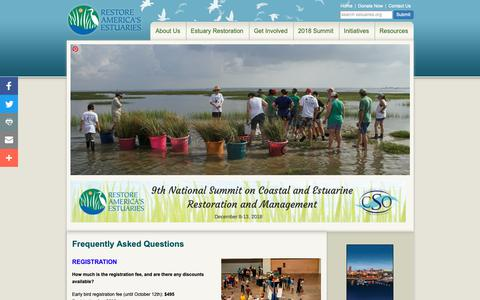 Screenshot of FAQ Page estuaries.org - Restore America's Estuaries | Frequently Asked Questions - captured Oct. 18, 2018