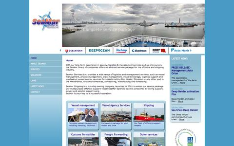 Screenshot of Home Page seamar.nl - SeaMar - Services - offshore - Vessel management - Vessel agency services - Shipping - Customs formalities - Freight Forwarding - captured Feb. 4, 2016