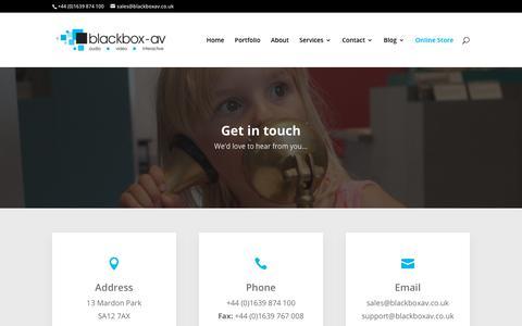 Screenshot of Contact Page blackboxav.co.uk - Contact - blackbox-av - captured Aug. 2, 2018