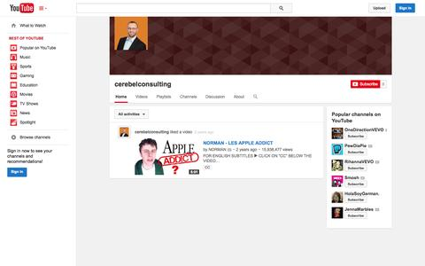 Screenshot of YouTube Page youtube.com - cerebelconsulting  - YouTube - captured Oct. 22, 2014