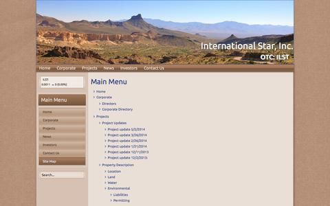 Screenshot of Site Map Page ilstholdings.com - Site Map - International Star, Inc. - captured Oct. 6, 2014