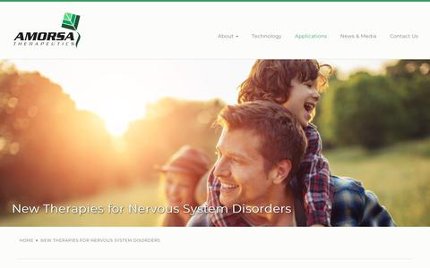 Screenshot of Products Page amorsatx.com - New Therapies for Nervous System Disorders | Amorsa Therapeutics - captured Nov. 12, 2018